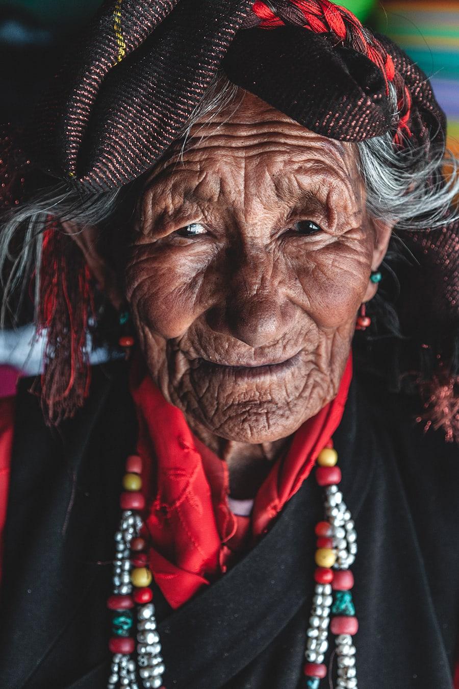 An old Tibetan woman on the outskirts of Shigatse.