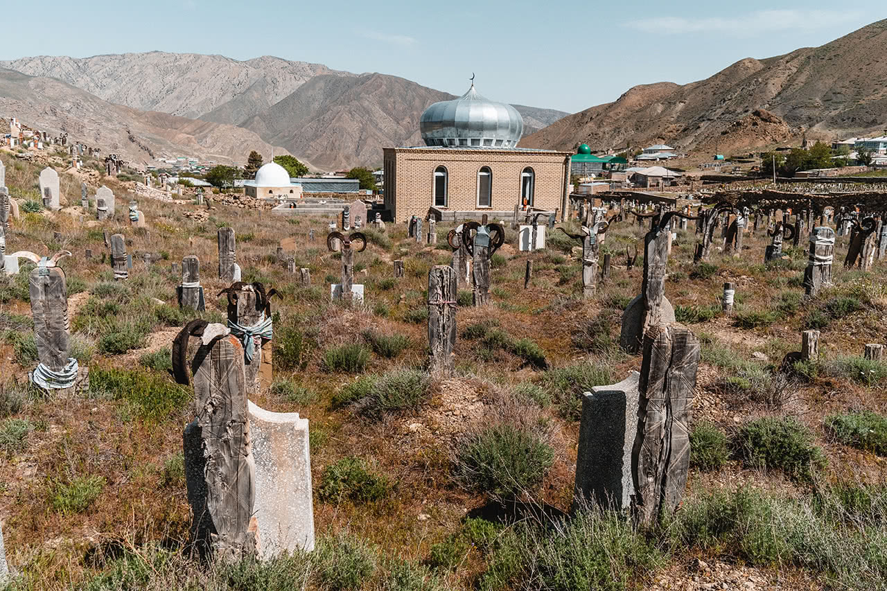 Cemetery at the Zoroastrian village of Nokhur in Turkmenistan.