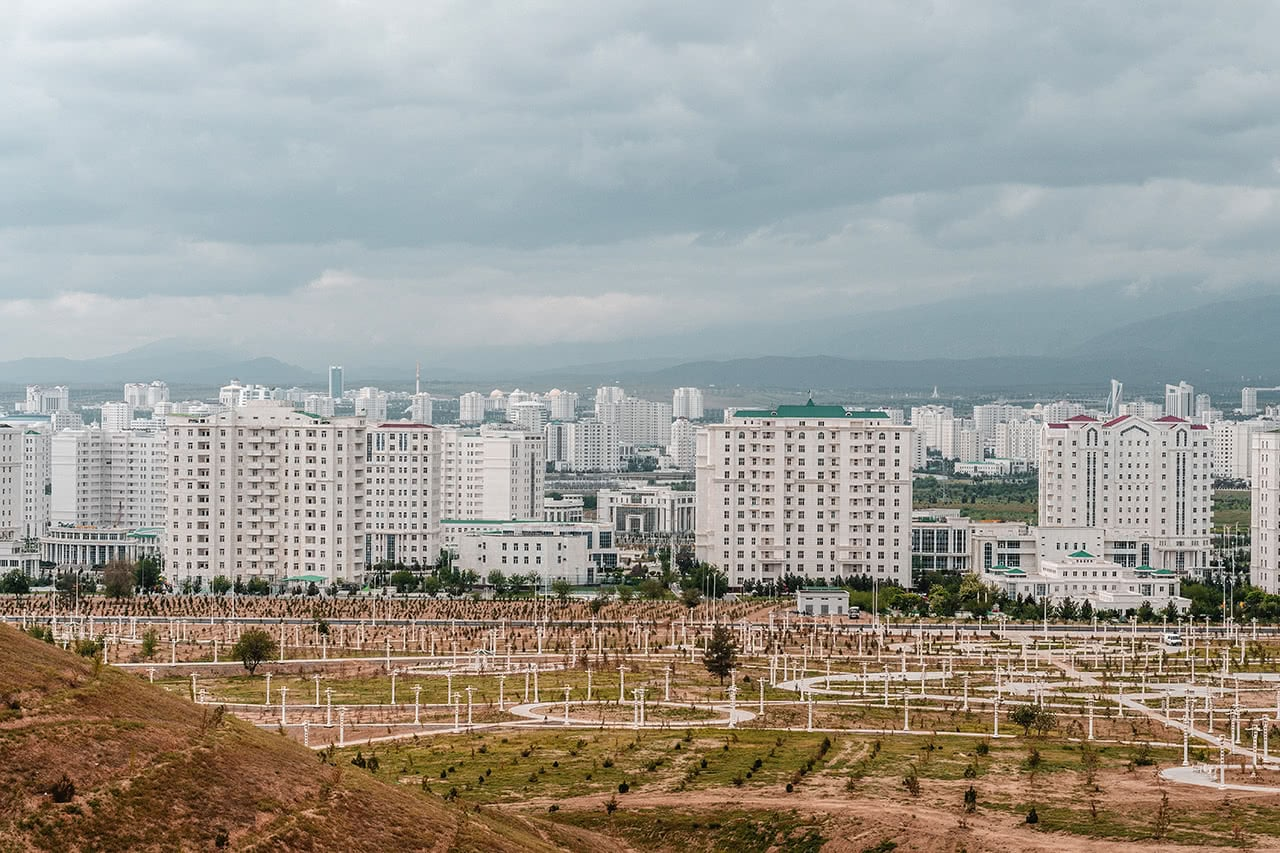 White marble (and plastic facade) apartment buildings in Ashgabat.