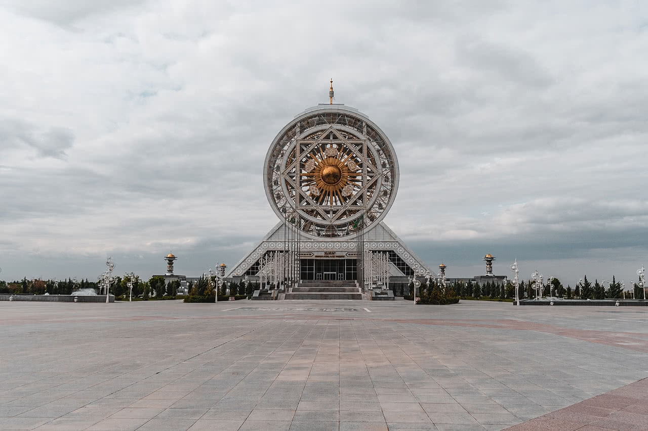 The unusual Alem Cultural and Entertainment Center in Ashgabat sports the world's tallest ferris wheel in an enclosed space.