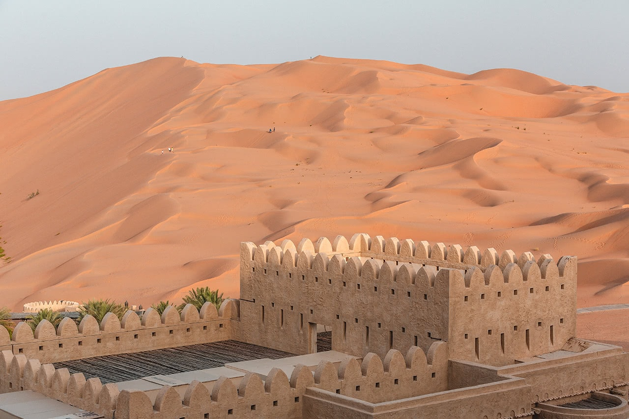 View from the Qasr Al Sarab Desert Resort by Anantara in the Rub' Al Khali desert.