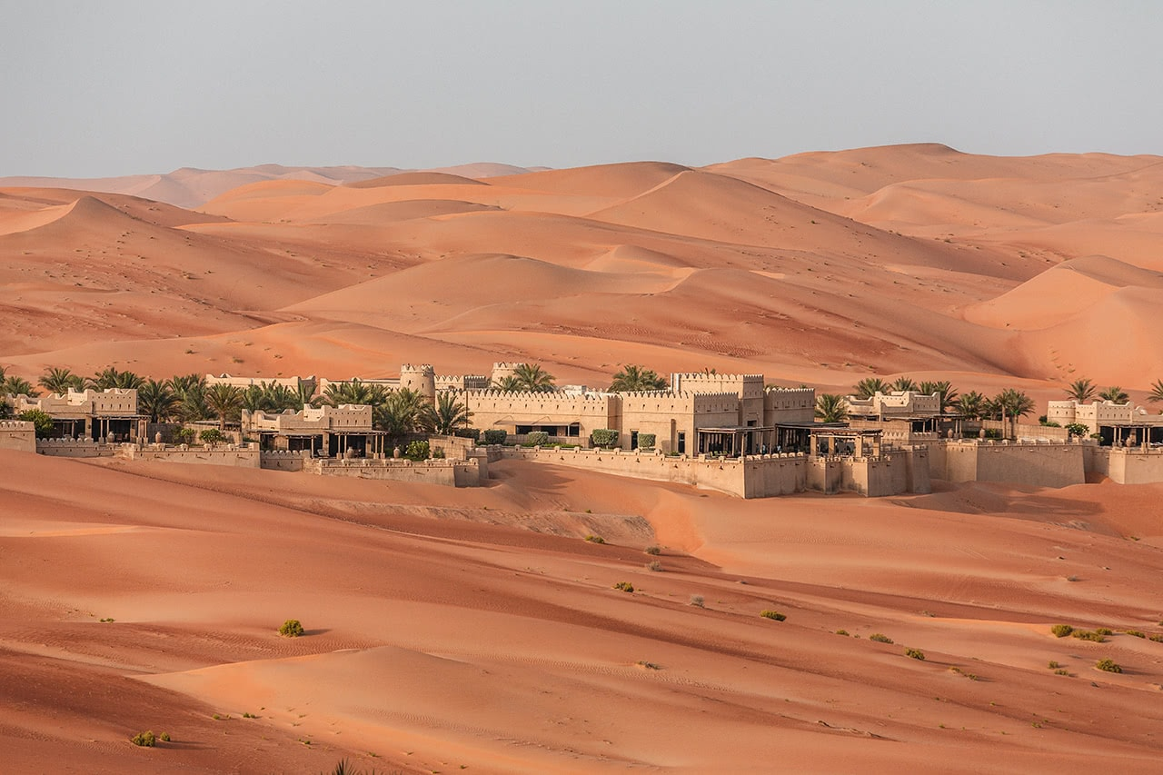 View of the Qasr Al Sarab Desert Resort by Anantara in the Rub' Al Khali desert.