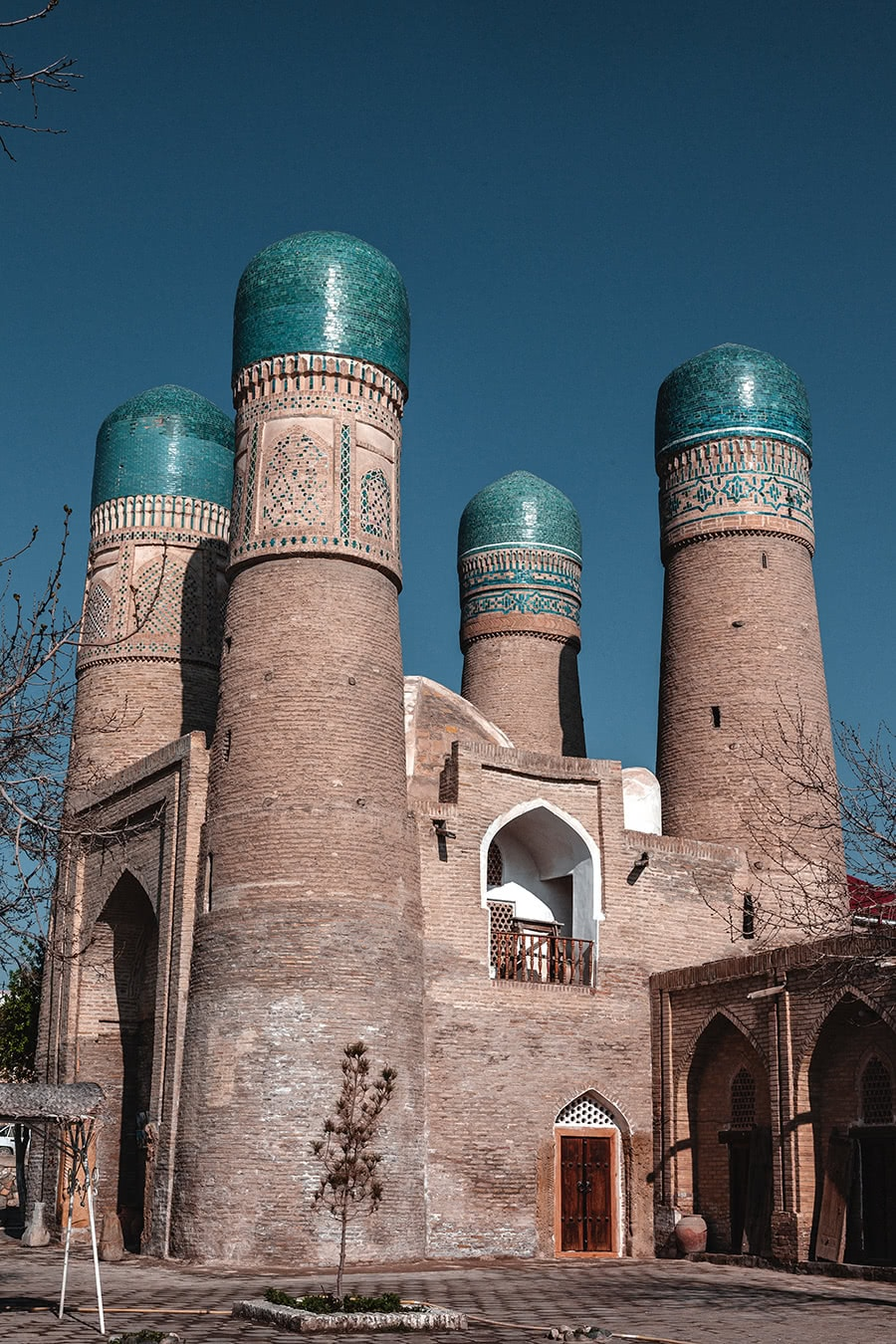 The iconic Char Minor in Bukhara, with its four distinctive dome towers.