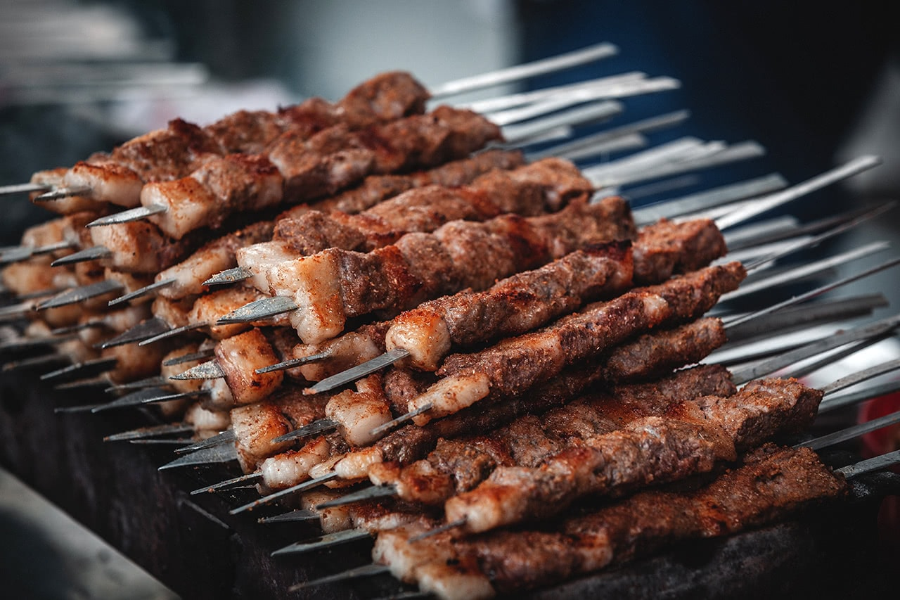 Kababs at the Tashkent market are a daily staple.