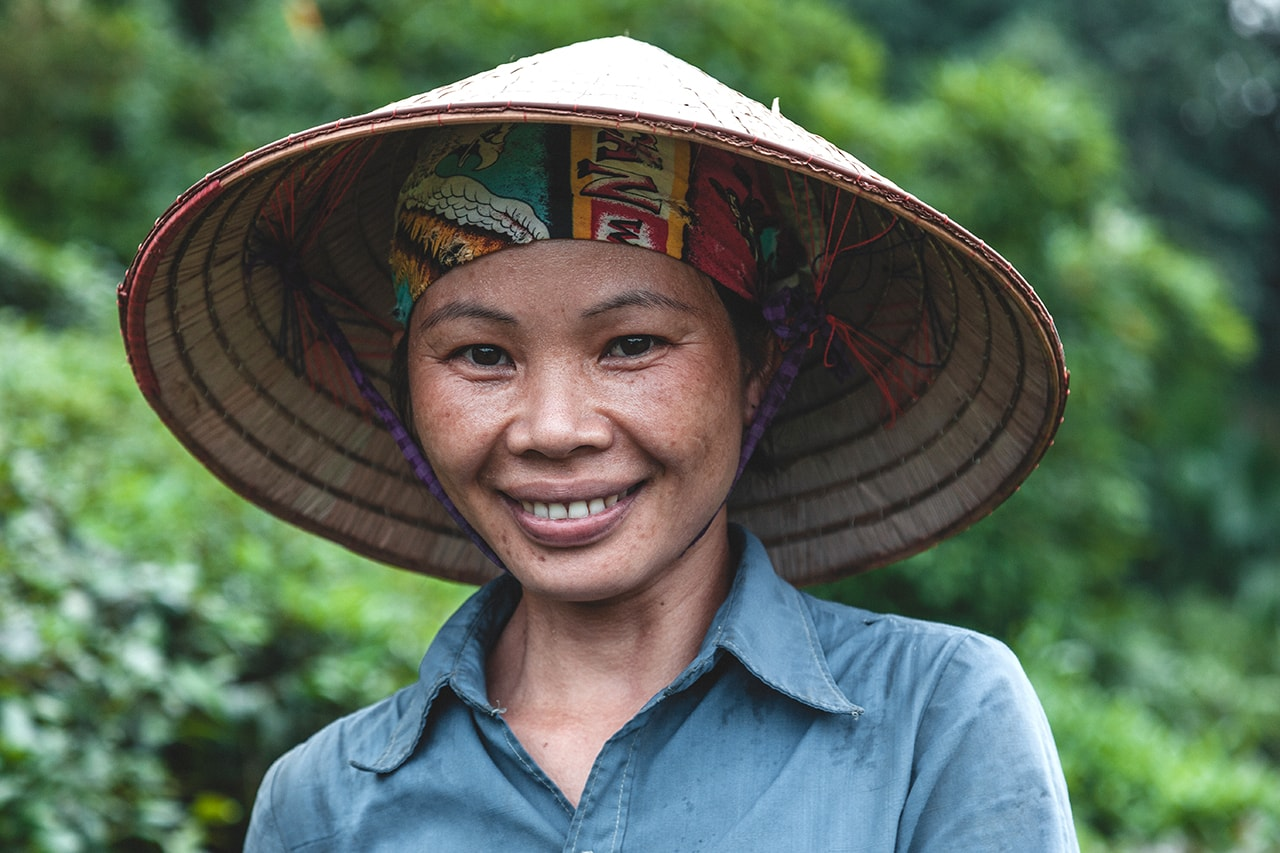Portrait of a tea picker in Ha GIang, Vietnam.