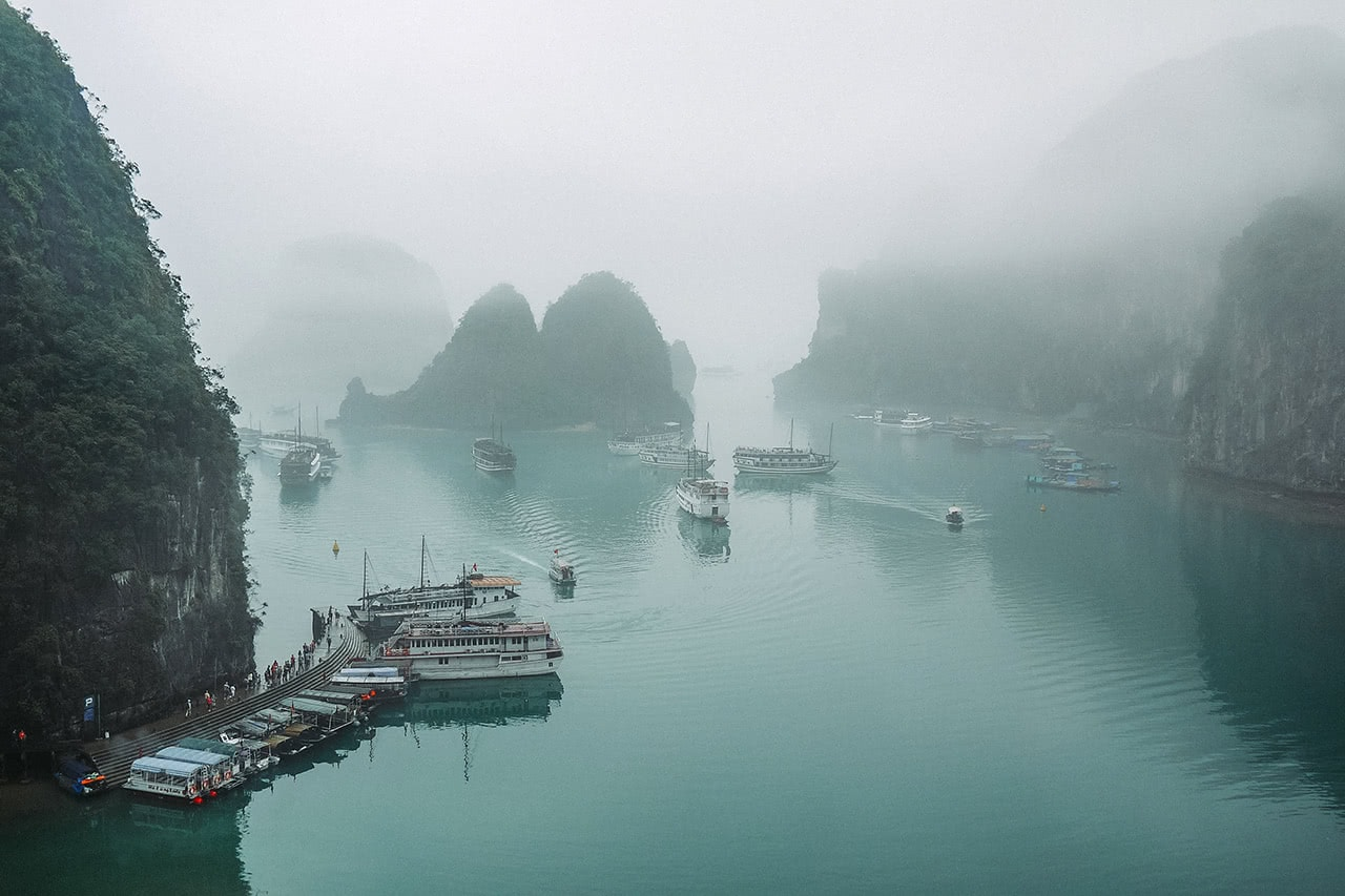 A misty morning at Halong Bay, Vietnam.