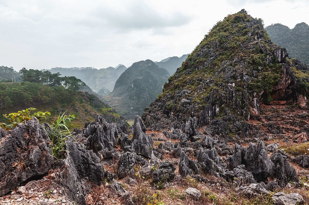 Rugged mountain scenery in Ha Giang