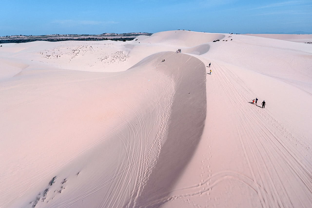 Drone photo of the white sand dunes of Mui Ne